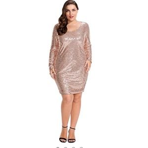 Rose Gold Long Sleeve Sequence Cocktail Dress